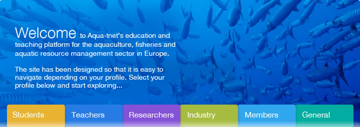 Welcome to Aqua-tnet's education and teaching platform for the aquaculture, fisheries and aquatic resource management sector in Europe.